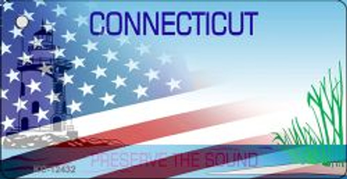 Connecticut with American Flag Wholesale Novelty Metal Key Chain KC-12432