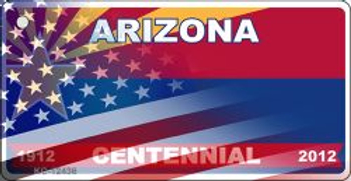 Arizona with American Flag Wholesale Novelty Metal Key Chain KC-12436