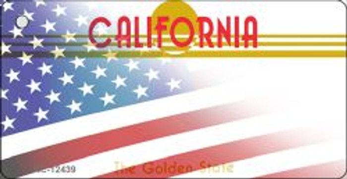 California with American Flag Wholesale Novelty Metal Key Chain KC-12439