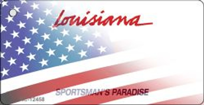 Louisiana with American Flag Wholesale Novelty Metal Key Chain KC-12458