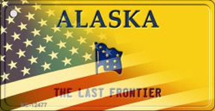 Alaska with American Flag Wholesale Novelty Metal Key Chain KC-12477