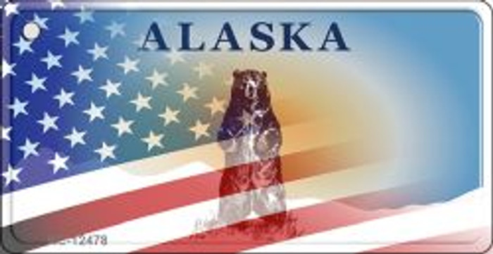 Alaska with American Flag Wholesale Novelty Metal Key Chain KC-12478