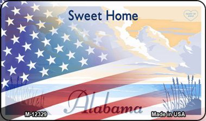 Alabama with American Flag Wholesale Novelty Metal Magnet M-12329