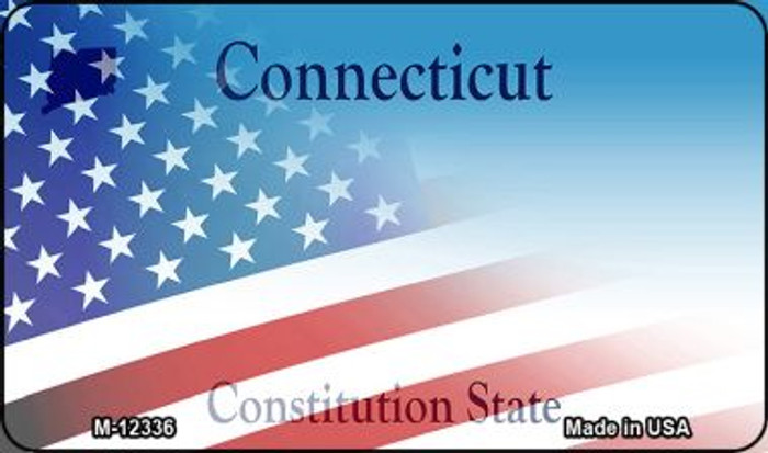 Connecticut with American Flag Wholesale Novelty Metal Magnet M-12336