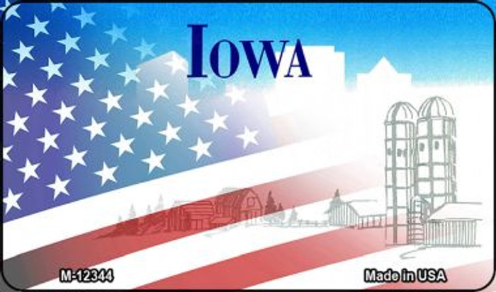 Iowa with American Flag Wholesale Novelty Metal Magnet M-12344