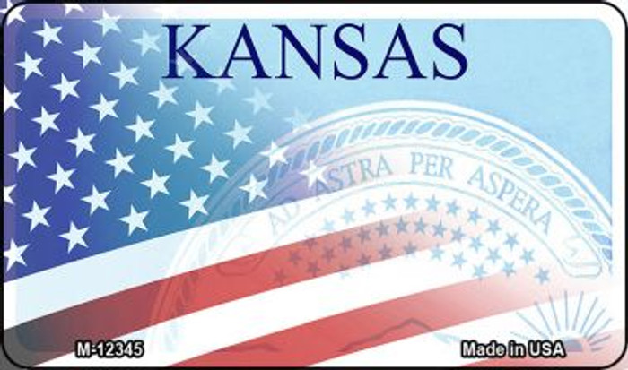 Kansas with American Flag Wholesale Novelty Metal Magnet M-12345