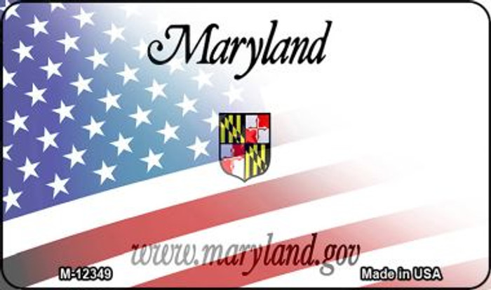 Maryland with American Flag Wholesale Novelty Metal Magnet M-12349