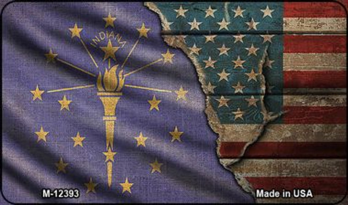 Indiana/American Flag Wholesale Novelty Metal Magnet M-12393