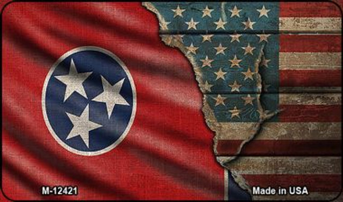 Tennessee/American Flag Wholesale Novelty Metal Magnet M-12421