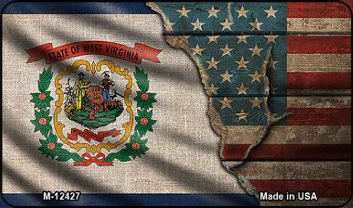 West Virginia/American Flag Wholesale Novelty Metal Magnet M-12427