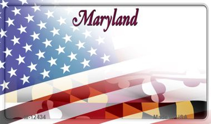 Maryland with American Flag Wholesale Novelty Metal Magnet M-12434