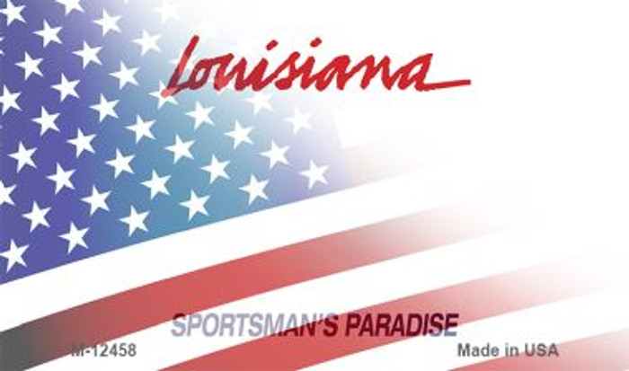 Louisiana with American Flag Wholesale Novelty Metal Magnet M-12458