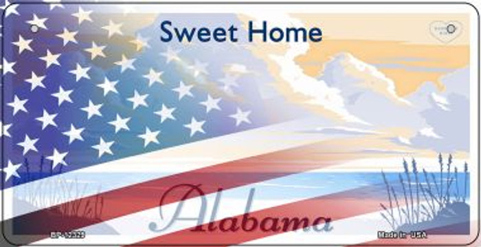Alabama with American Flag Wholesale Novelty Metal Bicycle Plate BP-12329