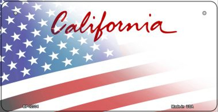 California with American Flag Wholesale Novelty Metal Bicycle Plate BP-12334