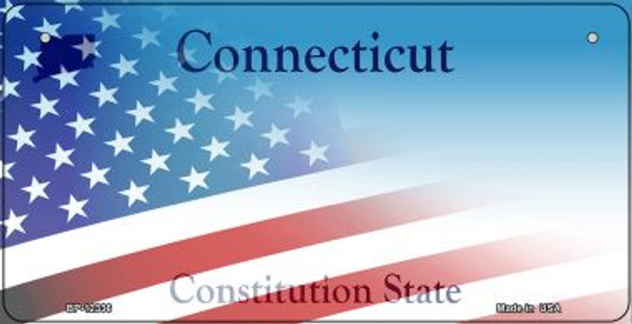 Connecticut with American Flag Wholesale Novelty Metal Bicycle Plate BP-12336