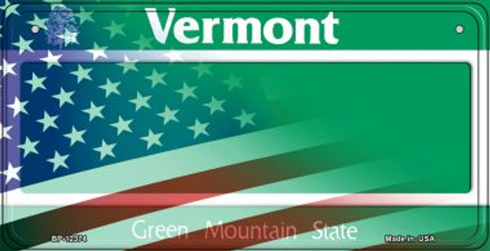 Vermont with American Flag Wholesale Novelty Metal Bicycle Plate BP-12374