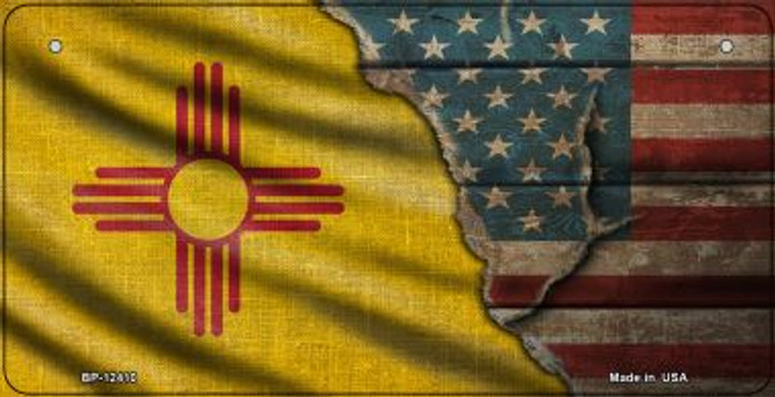 New Mexico/American Flag Wholesale Novelty Metal Bicycle Plate BP-12410