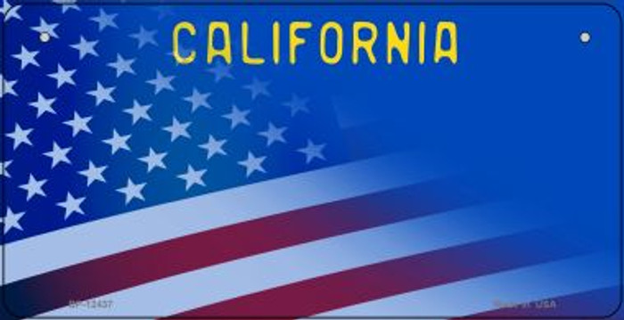 California with American Flag Wholesale Novelty Metal Bicycle Plate BP-12437