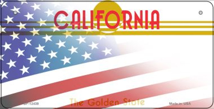 California with American Flag Wholesale Novelty Metal Bicycle Plate BP-12439