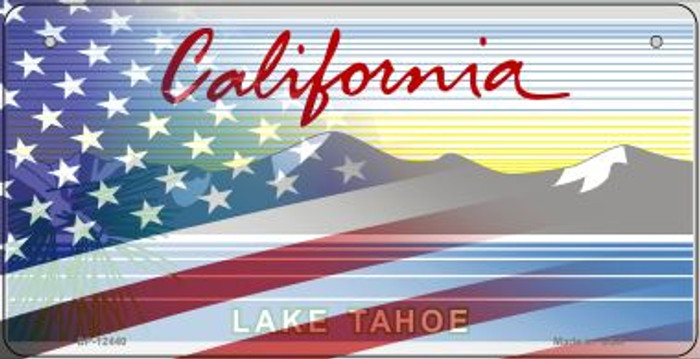 California with American Flag Wholesale Novelty Metal Bicycle Plate BP-12440