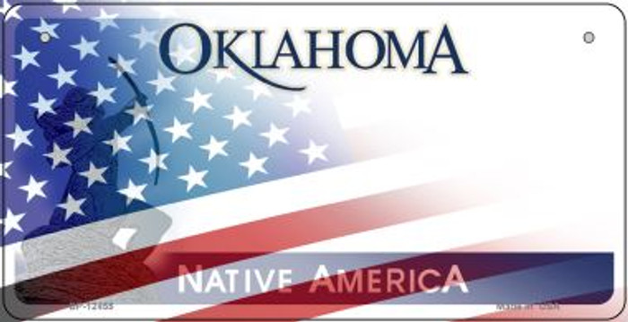 Oklahoma with American Flag Wholesale Novelty Metal Bicycle Plate BP-12455