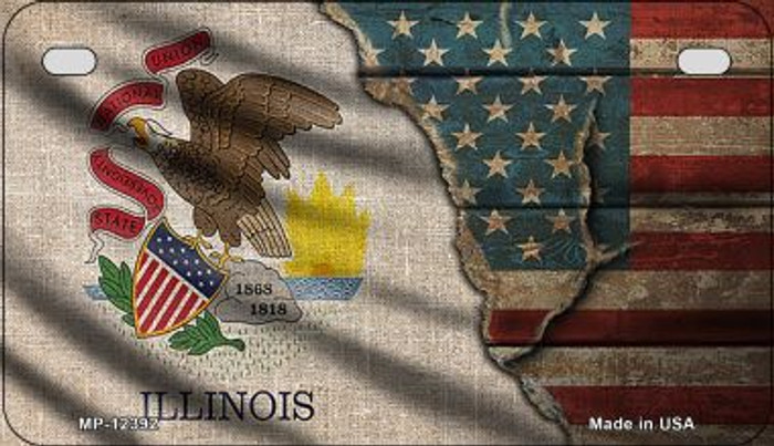 Illinois/American Flag Wholesale Novelty Metal Motorcycle Plate MP-12392
