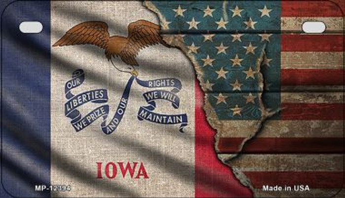 Iowa/American Flag Wholesale Novelty Metal Motorcycle Plate MP-12394