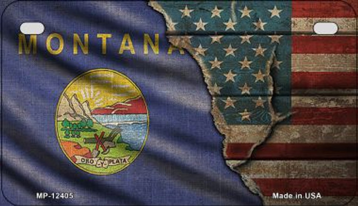 Montana/American Flag Wholesale Novelty Metal Motorcycle Plate MP-12405
