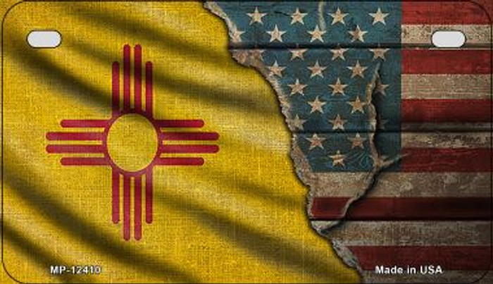 New Mexico/American Flag Wholesale Novelty Metal Motorcycle Plate MP-12410
