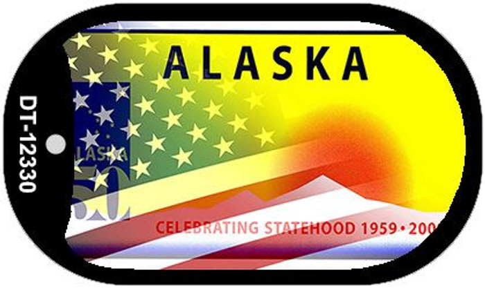 Alaska with American Flag Wholesale Novelty Metal Dog Tag Necklace DT-12330