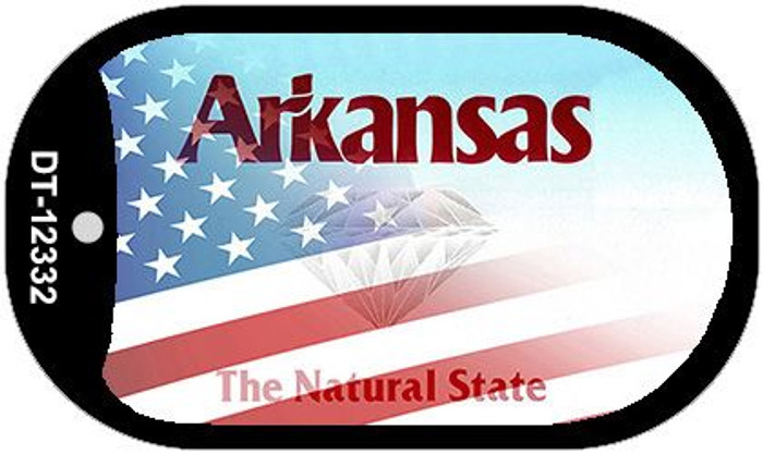 Arkansas with American Flag Wholesale Novelty Metal Dog Tag Necklace DT-12332