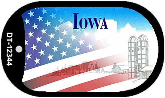 Iowa with American Flag Wholesale Novelty Metal Dog Tag Necklace DT-12344