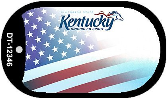 Kentucky with American Flag Wholesale Novelty Metal Dog Tag Necklace DT-12346