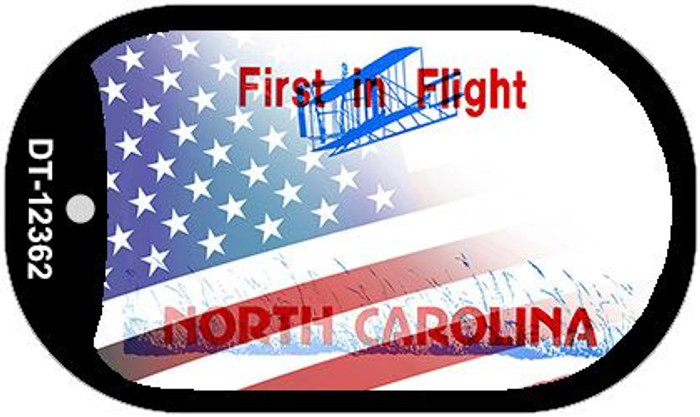 North Carolina with American Flag Wholesale Novelty Metal Dog Tag Necklace DT-12362