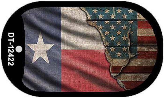 Texas/American Flag Wholesale Novelty Metal Dog Tag Necklace DT-12422