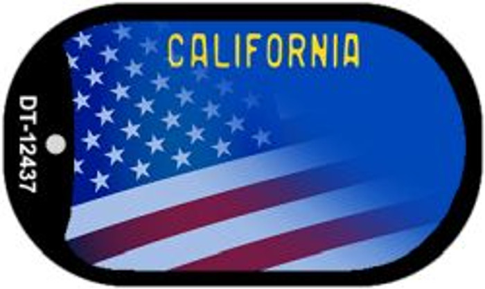 California with American Flag Wholesale Novelty Metal Dog Tag Necklace DT-12437