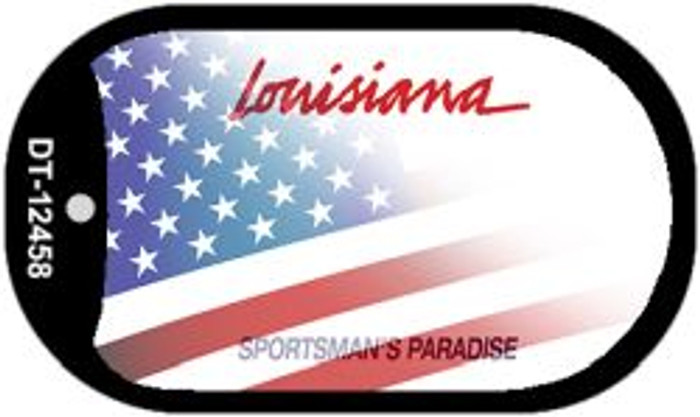 Louisiana with American Flag Wholesale Novelty Metal Dog Tag Necklace DT-12458