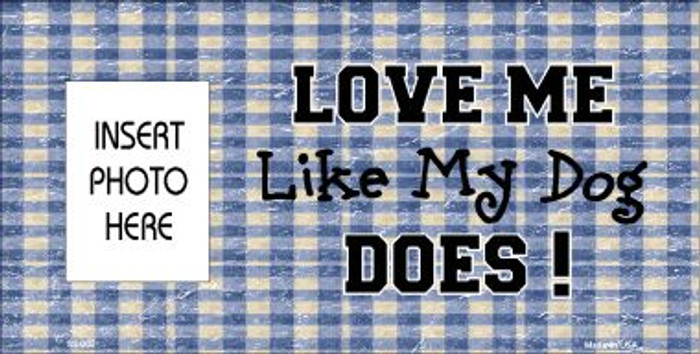 Dog Love Blue Plaid Photo Insert Pocket Wholesale Metal Novelty Small Sign