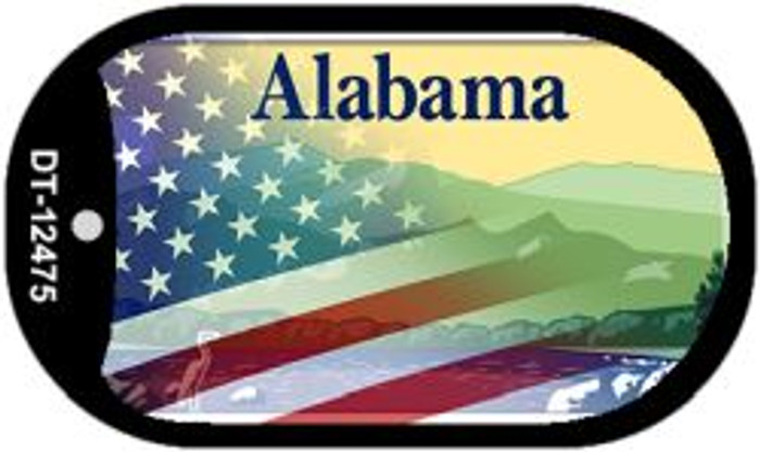 Alabama with American Flag Wholesale Novelty Metal Dog Tag Necklace DT-12475