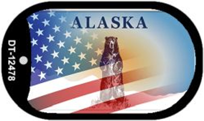 Alaska with American Flag Wholesale Novelty Metal Dog Tag Necklace DT-12478
