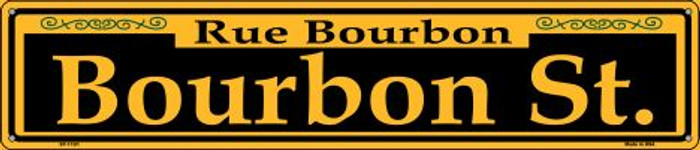 Bourbon St. Yellow Wholesale Novelty Metal Street Sign ST-1191