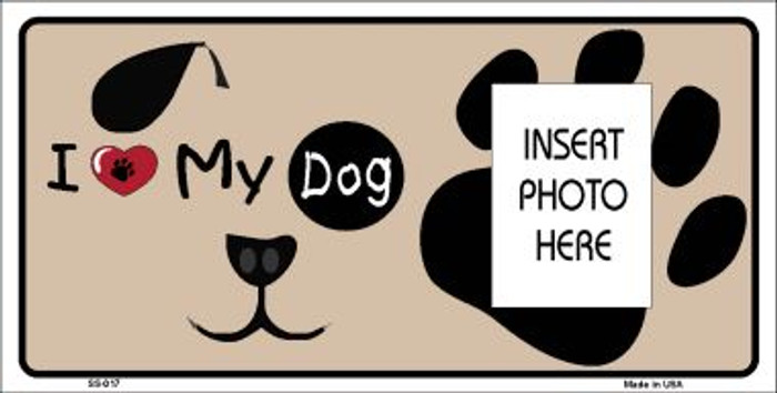 I Love My Dog Photo Insert Pocket Wholesale Metal Novelty Small Sign