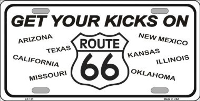 Get Your Kicks On 66  Novelty Wholesale Metal License Plate