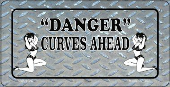 Danger Curves Ahead Wholesale Novelty Metal Bicycle Plate BP-1126