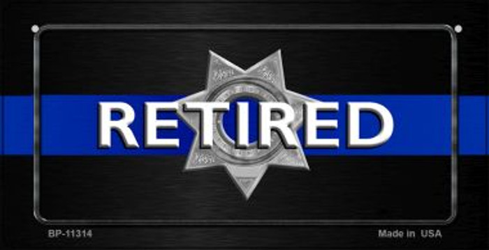 Thin Blue Line Retired Police Wholesale Novelty Metal Bicycle Plate BP-11314