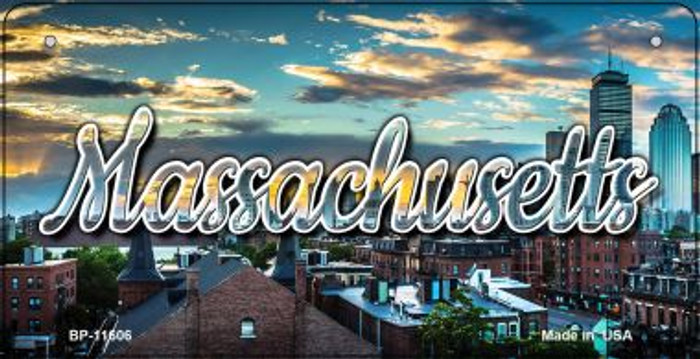 Massachusetts Sunset Skyline Wholesale Novelty Metal Bicycle Plate BP-11606
