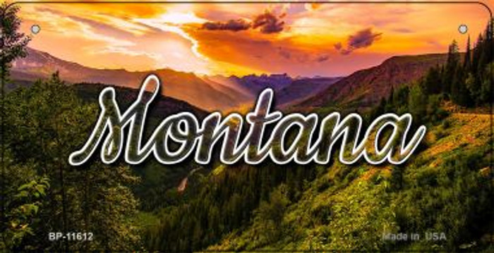 Montana Forest Sunset  Wholesale Novelty Metal Bicycle Plate BP-11612