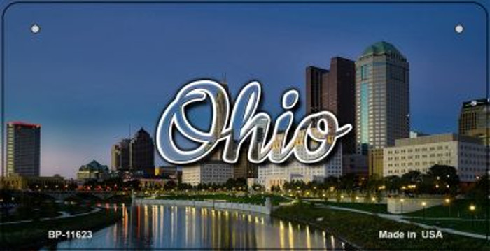 Ohio River City Skyline Wholesale Novelty Metal Bicycle Plate BP-11623
