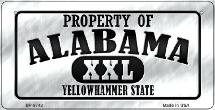 Property Of Alabama Wholesale Novelty Metal Bicycle Plate BP-9742