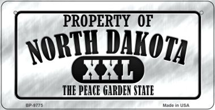 Property Of North Dakota Wholesale Novelty Metal Bicycle Plate BP-9775